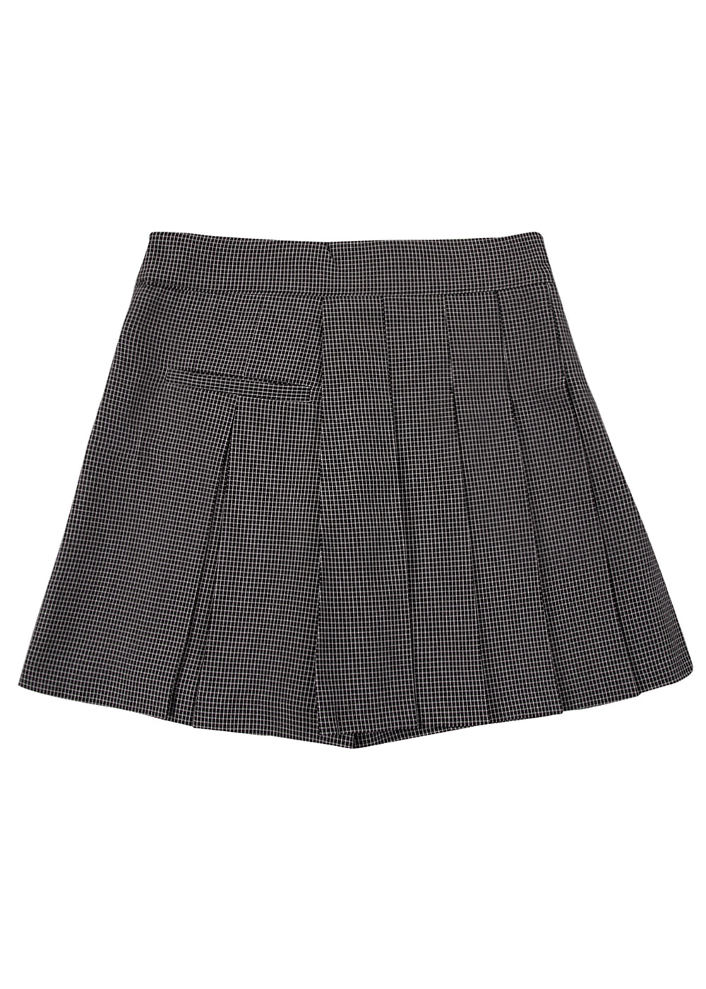 Windowpane Check Pleats Pants Skirt BK