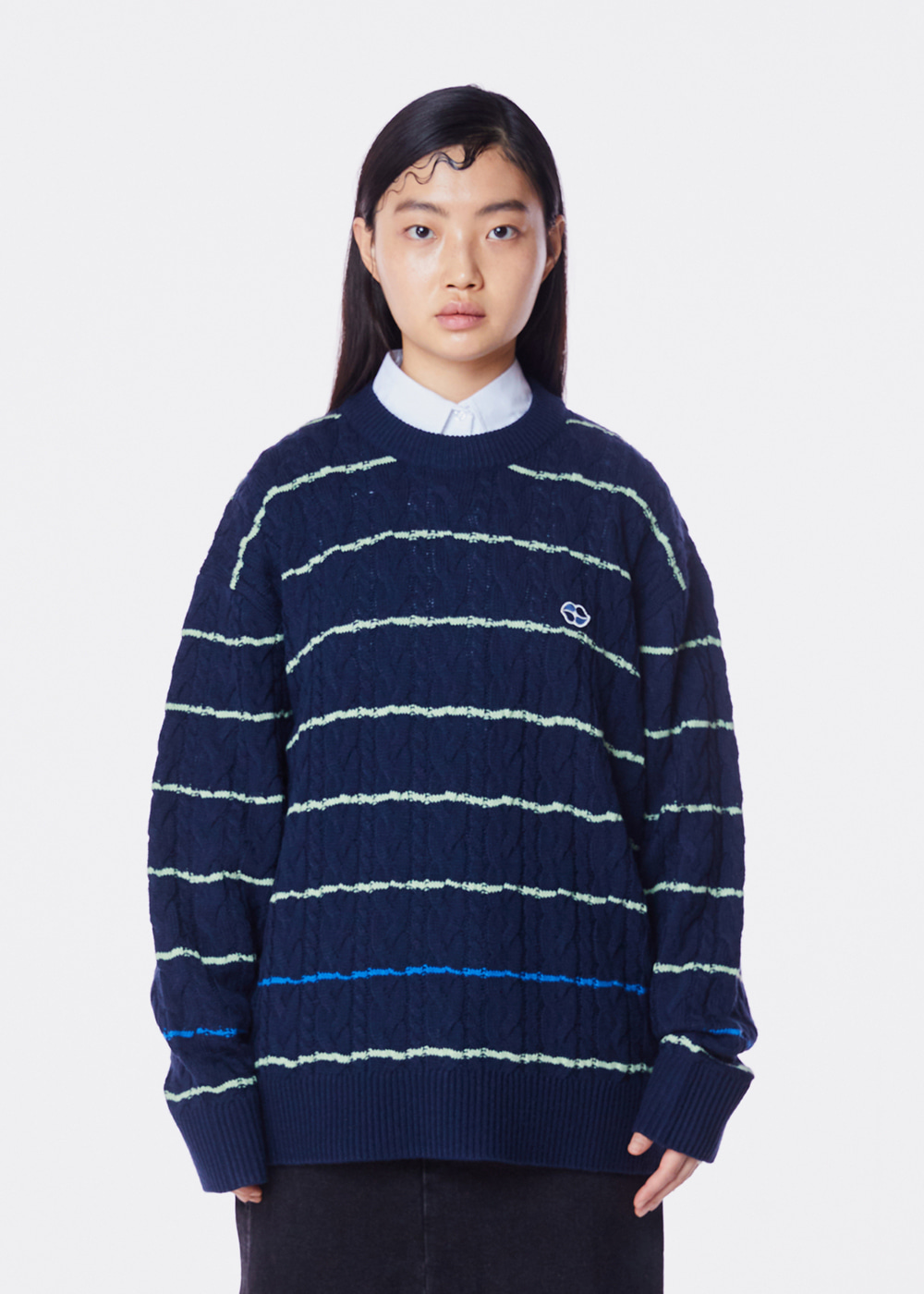 CHARMS STRIPE TWIST LIP KNIT GN