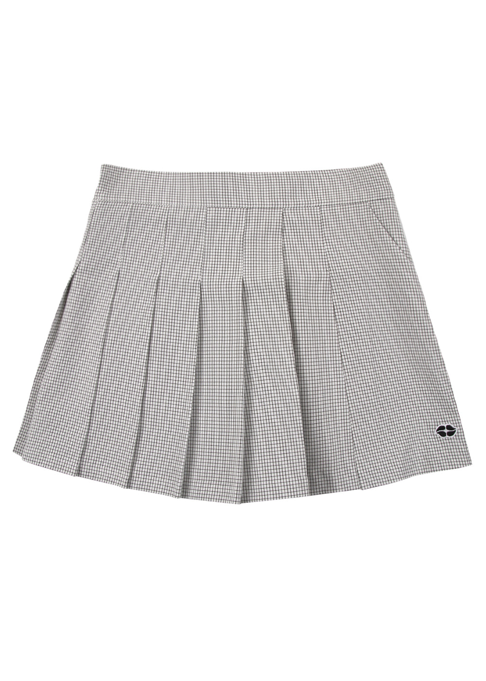 Windowpane Check Pleats Pants Skirt WH