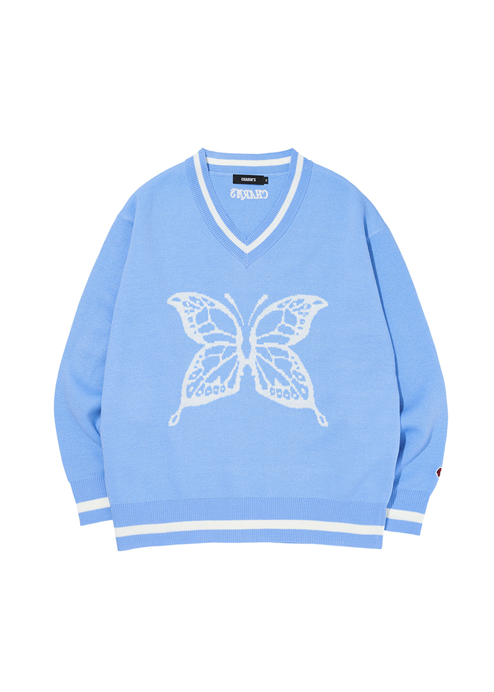 CHARMS BUTTERFLY V NECK KNIT BL